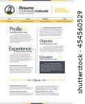 vector resume template. cv ... | Shutterstock .eps vector #454560529