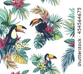 illustration tropical floral...   Shutterstock . vector #454564675