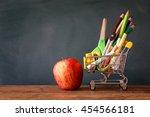 shopping cart with school... | Shutterstock . vector #454566181