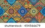 boho tile seamless pattern... | Shutterstock .eps vector #454566679
