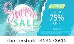 summer sale lettering on blue...   Shutterstock .eps vector #454573615