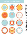 vector set of printable tags ... | Shutterstock .eps vector #454577911