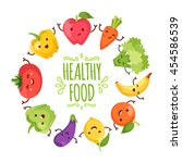 healthy food cartoon... | Shutterstock .eps vector #454586539