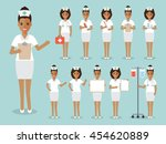 group of black female nurses ... | Shutterstock .eps vector #454620889