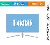 wide tv icon. flat color design....