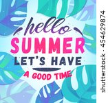 summer party poster with palm... | Shutterstock .eps vector #454629874