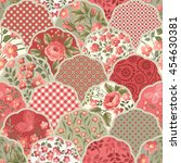 seamless floral patchwork... | Shutterstock .eps vector #454630381
