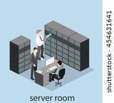 isometric interior of server... | Shutterstock .eps vector #454631641
