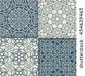blue and white arabic pattern...   Shutterstock .eps vector #454639465