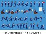 set of happy office man. vector ... | Shutterstock .eps vector #454642957
