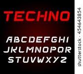 techno font. vector alphabet... | Shutterstock .eps vector #454643854