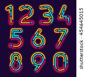 numbers set logos formed by... | Shutterstock .eps vector #454645015