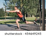man doing leg lunges training... | Shutterstock . vector #454649245