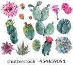 set of watercolor cactus ... | Shutterstock . vector #454659091