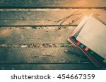 pen  opened notebook  glasses ... | Shutterstock . vector #454667359