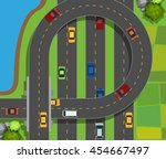 aerial scene with cars on road... | Shutterstock .eps vector #454667497