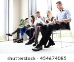 stressful people waiting for... | Shutterstock . vector #454674085