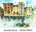 watercolor painting. a sketch... | Shutterstock . vector #454674844