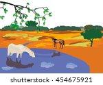 horses at steppe lake  drinking ...   Shutterstock .eps vector #454675921