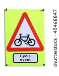Cycle event triangular warning sign - stock photo