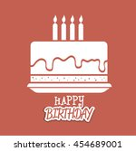 happy birthday cake isolated... | Shutterstock .eps vector #454689001