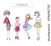 set of hand drawn fashion girls ... | Shutterstock . vector #454696735