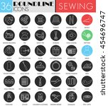 vector sewing circle white... | Shutterstock .eps vector #454696747
