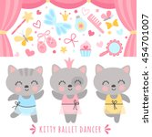 set girlish characters and... | Shutterstock .eps vector #454701007