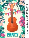 guitar with frangipani ... | Shutterstock .eps vector #454714219