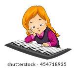 illustration of a bored girl... | Shutterstock .eps vector #454718935
