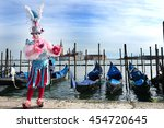 venice. carnival mask with... | Shutterstock . vector #454720645