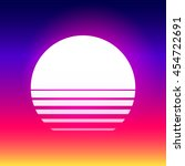80s retro sci fi sunset... | Shutterstock .eps vector #454722691