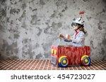 portrait of young child pretend ... | Shutterstock . vector #454723027