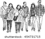 young people on a walk | Shutterstock .eps vector #454731715
