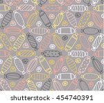 seamless pattern with different ... | Shutterstock .eps vector #454740391