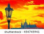 street light on charles bridge... | Shutterstock . vector #454745941