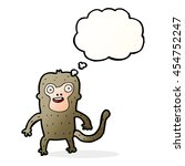 cartoon monkey with thought... | Shutterstock . vector #454752247