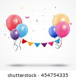 balloon with confetti and... | Shutterstock .eps vector #454754335