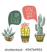 vector cactus hand drawn poster.... | Shutterstock .eps vector #454764901