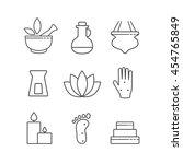 set of linear outline... | Shutterstock .eps vector #454765849