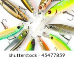 Plastic fishing lures, extreme close-up 100/2.8 Macro lens used - stock photo