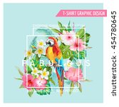 Stock vector floral graphic design tropical flowers and bird for t shirt fashion prints in vector 454780645