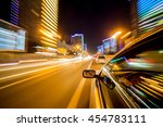 the car moves at great speed at ... | Shutterstock . vector #454783111