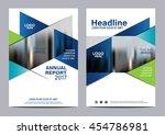 blue brochure layout design... | Shutterstock .eps vector #454786981