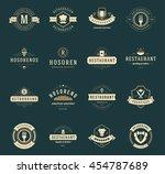 vintage restaurant logos design ... | Shutterstock .eps vector #454787689