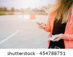 woman playing mobile games on... | Shutterstock . vector #454788751