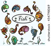 fish card color | Shutterstock .eps vector #454798069