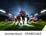 collage from american football... | Shutterstock . vector #454801465