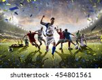 collage adult children soccer... | Shutterstock . vector #454801561