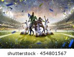 collage adult soccer players in ... | Shutterstock . vector #454801567